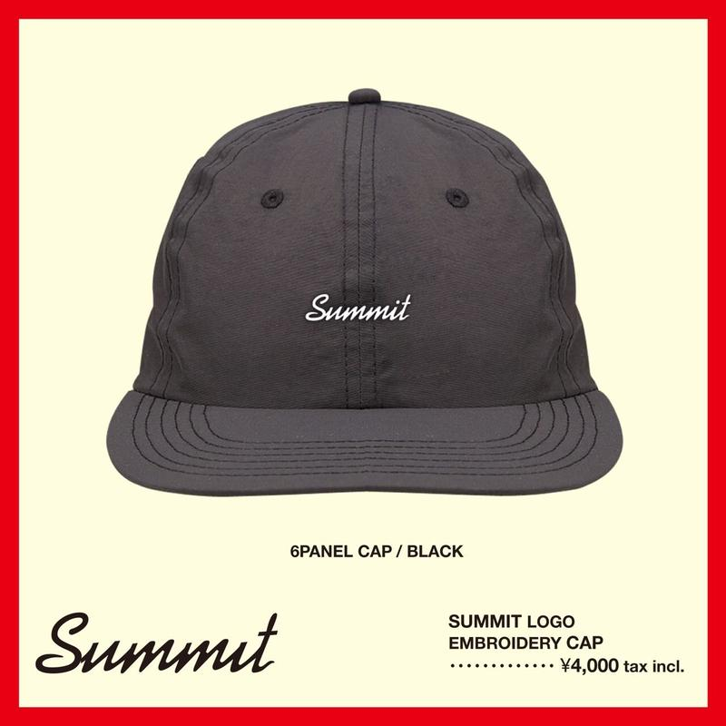 SUMMIT LOGO刺繍 6パネル CAP(BLACK)