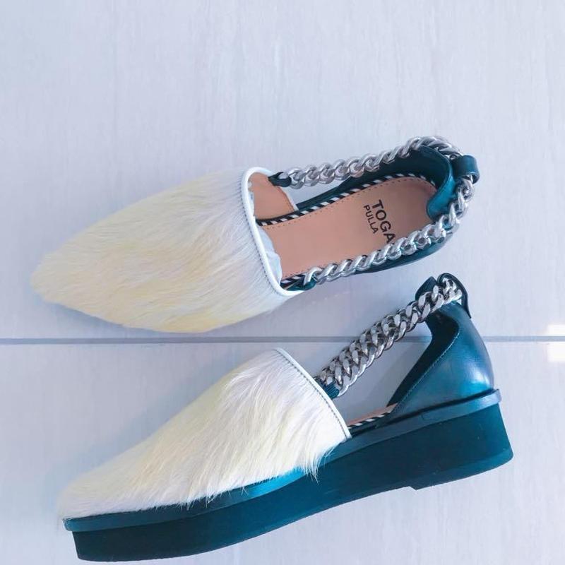 Fur sandal [WHITE/ YELLOW] Japan