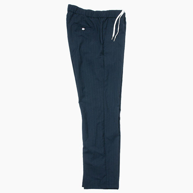 WASHED WOOL EASY PANTS / NAVY STRIPE
