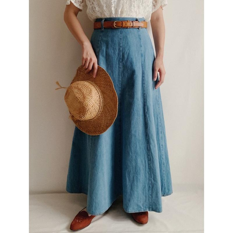 70's Euro Vintage Light Blue Maxi length Long Skirt
