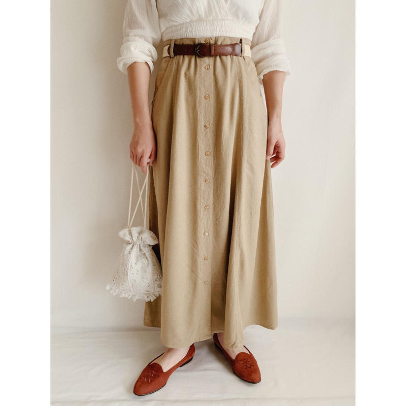 Euro Vintage Front Button Flare Long Skirt