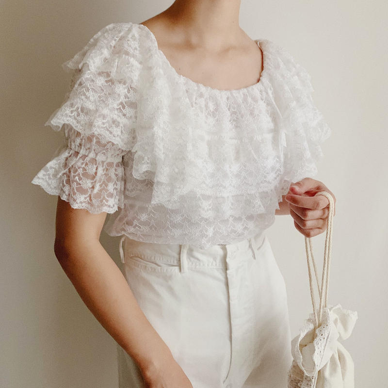 U.K . White Lace Frill Design Blouse