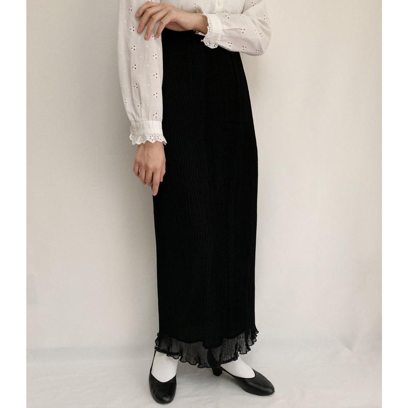 Euro  Vintage Black Accordion Pleats Long Skirt