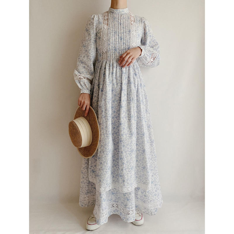 "70's - 80's U.K.  Vintage "" laura ashley "" Flower Print Long Dress"