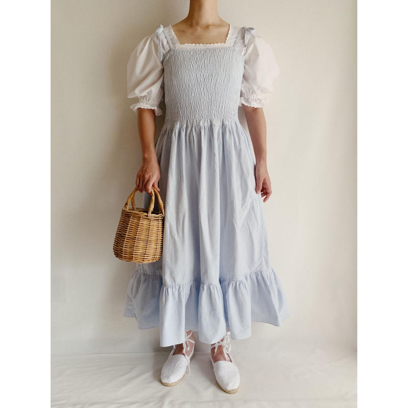 Euro Vintage Light Blue Cotton Tiared Camisole Dress