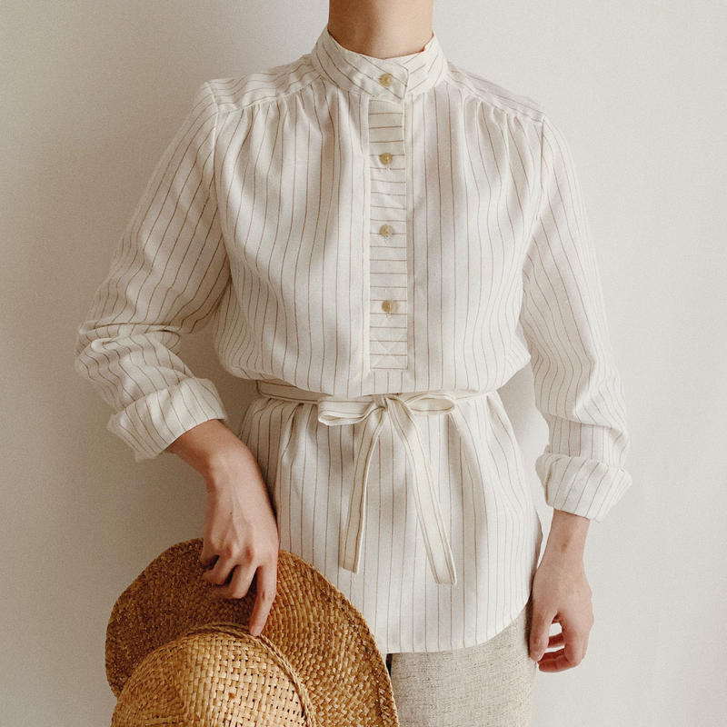 Euro Vintage Striped Shirt With Ribbon
