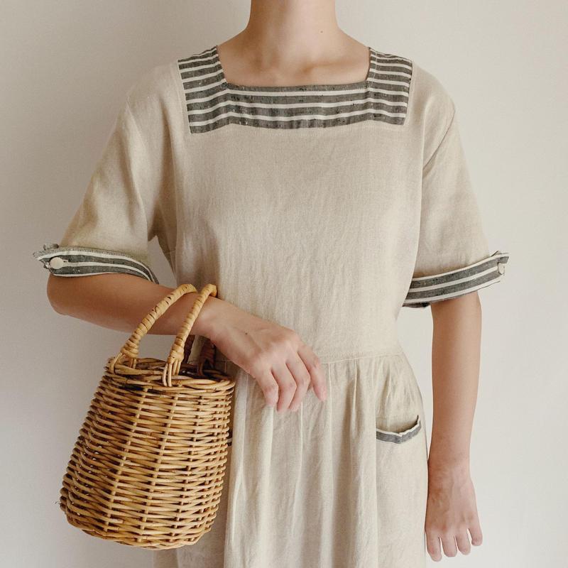 Euro Vintage Squareneck Cotton Linen Dres