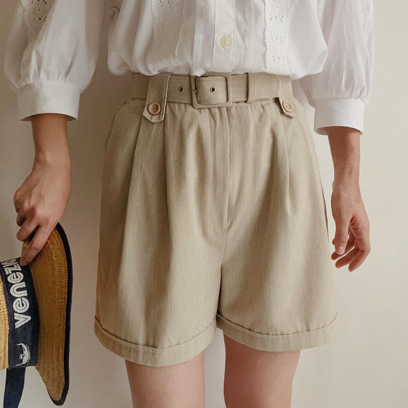Euro Vintage Tuck Short Pants With Belt