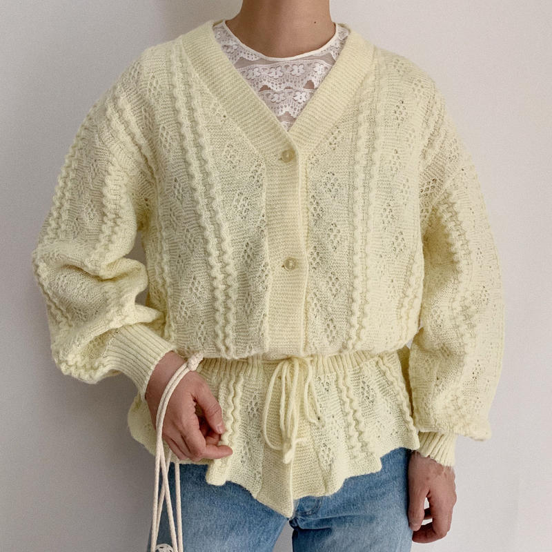 70's Euro Vintage Waist Ribbon Spring Knit Cardigan