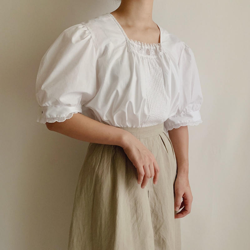 Euro Vintage Puff Sleeve A Line Blouse