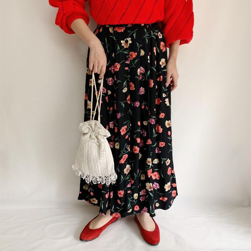 Euro Vintage  Flower Print Front Button Long Skirt