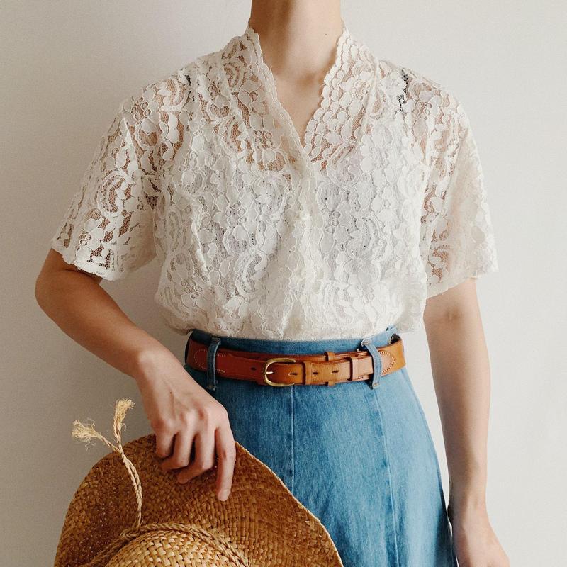 Euro Vintage  Short Sleeve Lace Blouse