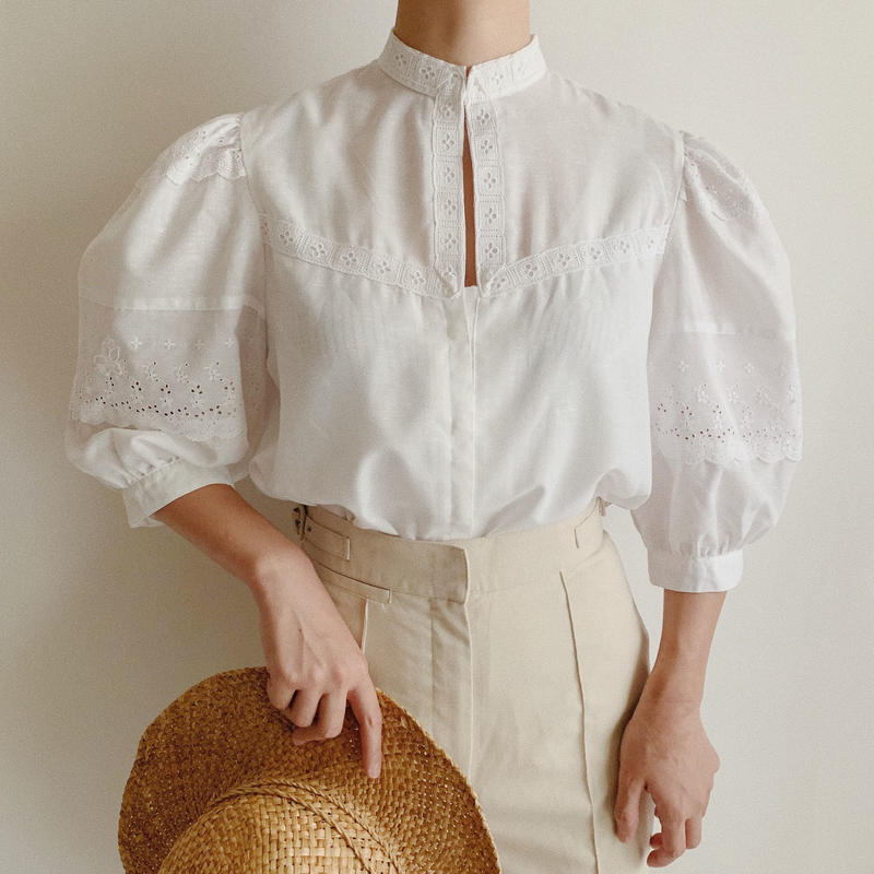 Euro Vintage Stand Collar Volume Sleeve Blouse