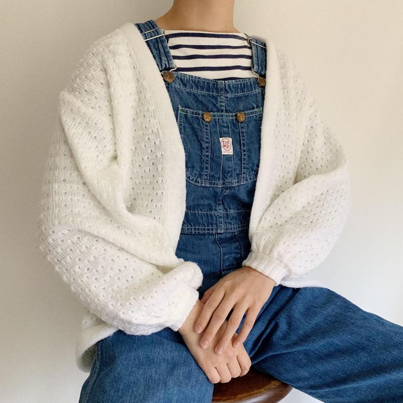 Euro Vintage White Volume Sleeve Knit Cardigan