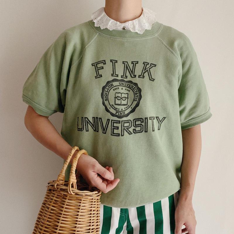 60's USA College Logo Print Short Sleeve Sweat Shirt