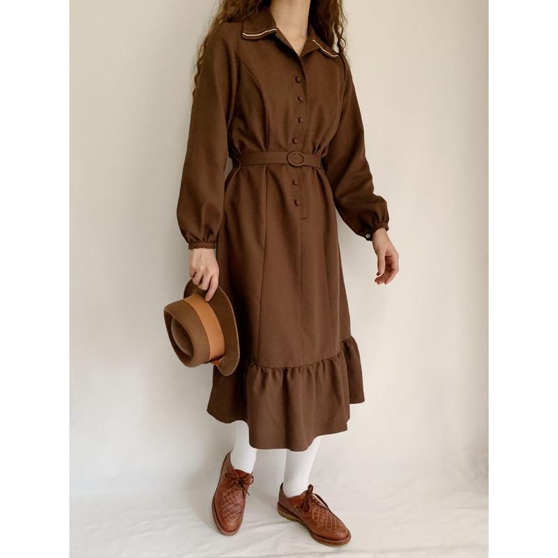 70's Euro  Vintage Brown Flare Dress With Belt
