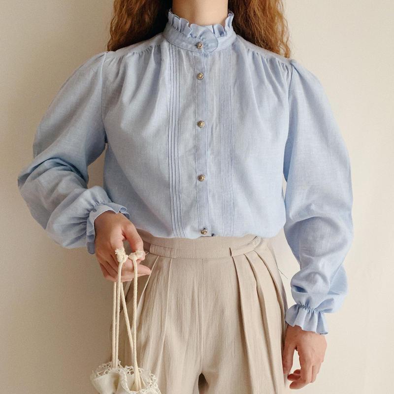 Euro Vintage Saxe Blue Stand Collar Blouse