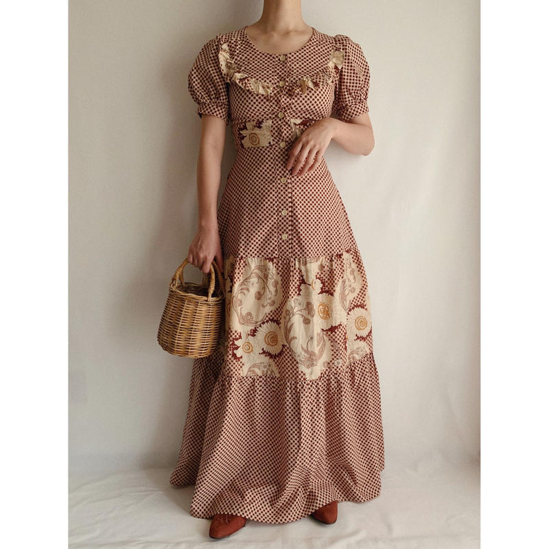 70's USA Flower × Gingham check Pattern Teared Long Dress