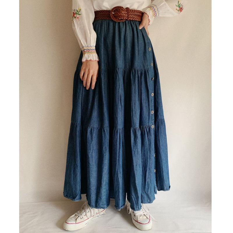 90's Denim Tiared Long Flare Skirt
