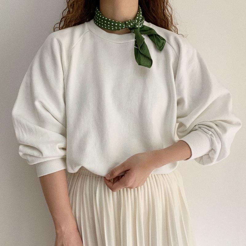 80's White Raglan Sleeve Sweat Shirt
