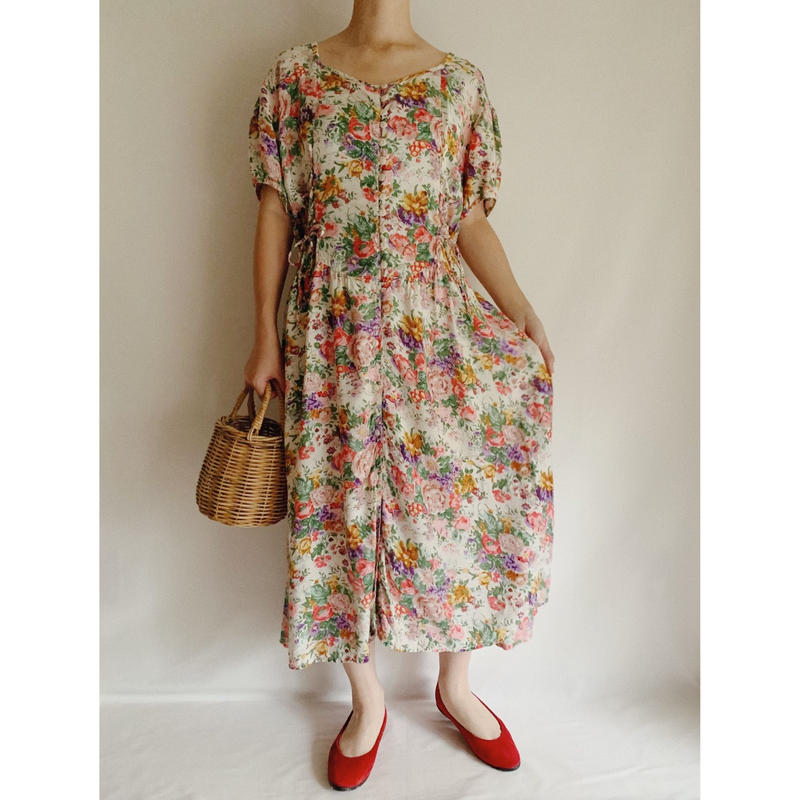 Euro Vintage All Over Flower Print Rayon Summer Dress