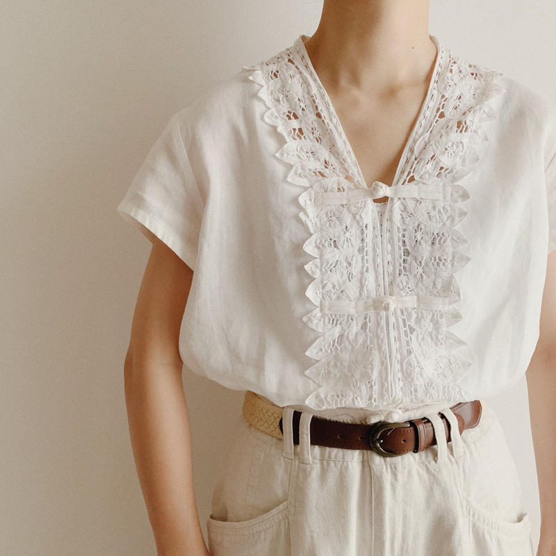Euro Vintage Linen Chinese Buttons Blouse