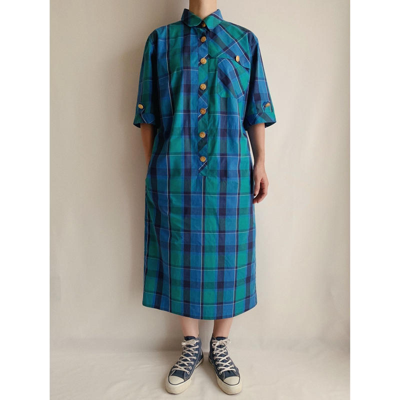 Euro Vintage Plaid Shirt Dress With Gold Buttons