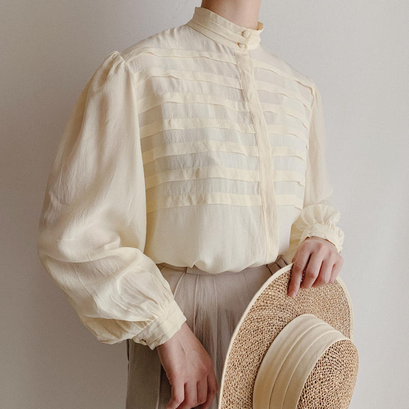 Euro Vintage Pleated Design Silk Blouse