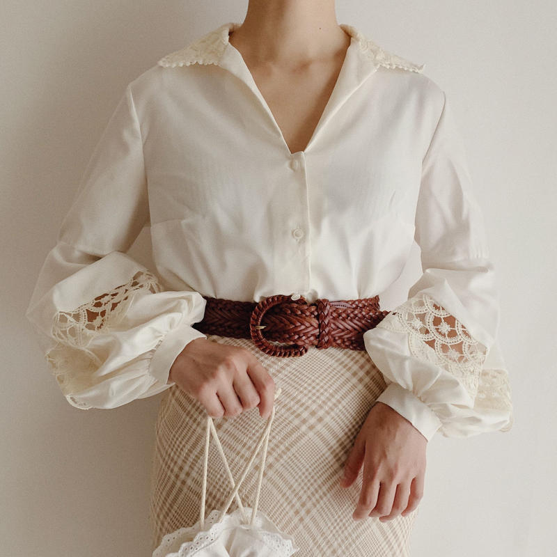 Euro  Vintage Open Collar Volume Sleeve Blouse