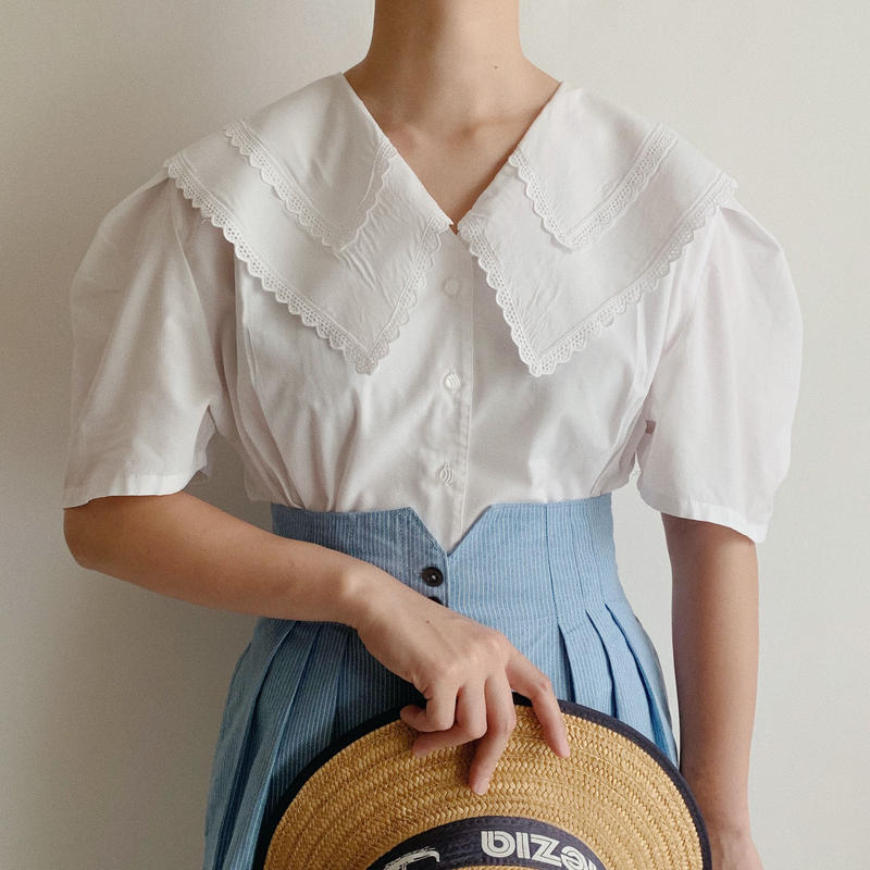 Euro Vintage Puritan Collar Blouse