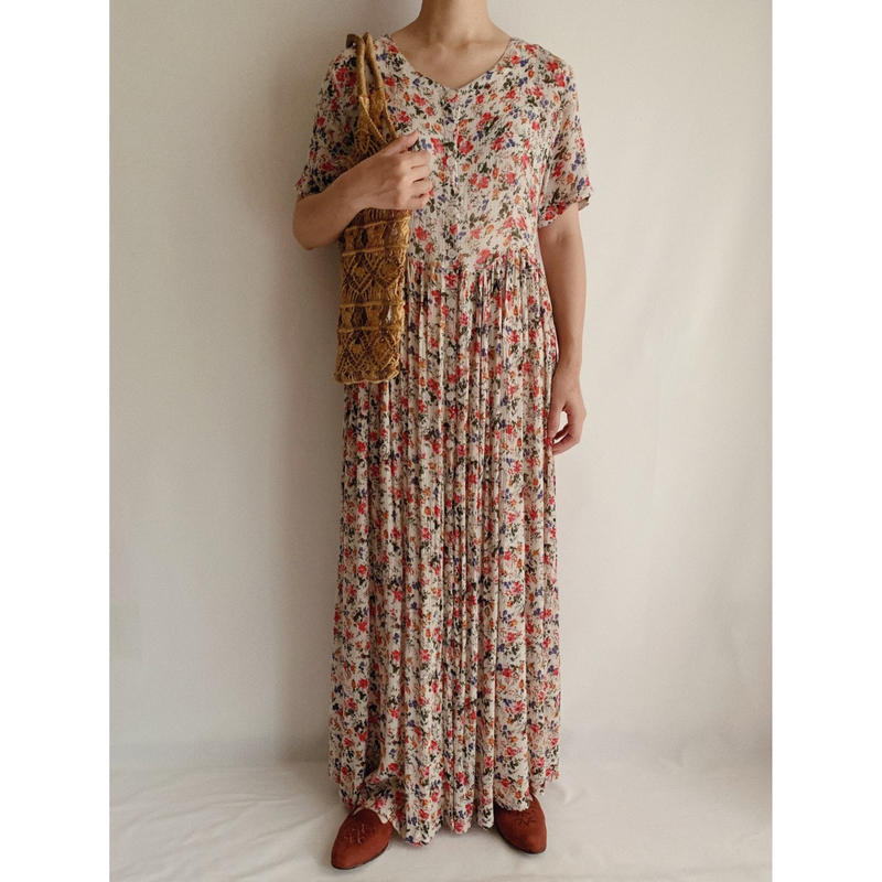 Euro Vintage All Over Flower Prints Front Buttons Long Dress