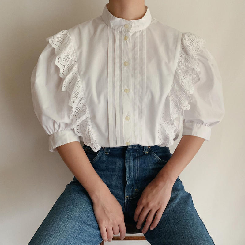 Euro Vintage Cut Work Lace Frill Volume Sleeve Blouse