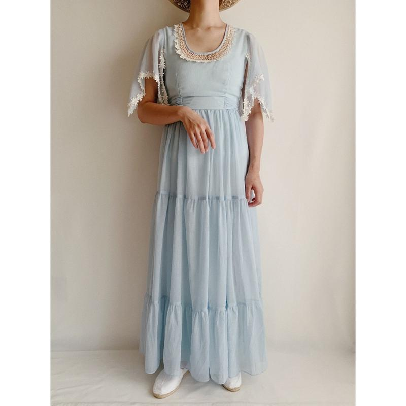 70's USA Flower Lace Teared Maxi length Dress