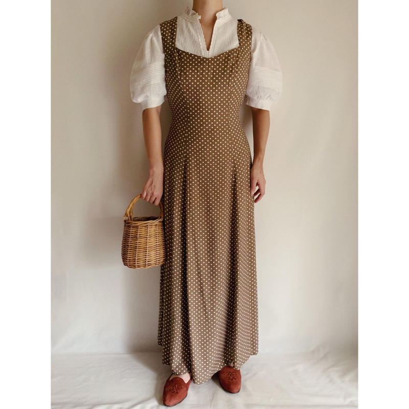 Euro Vintage Brown White Dot Long Summer Dress