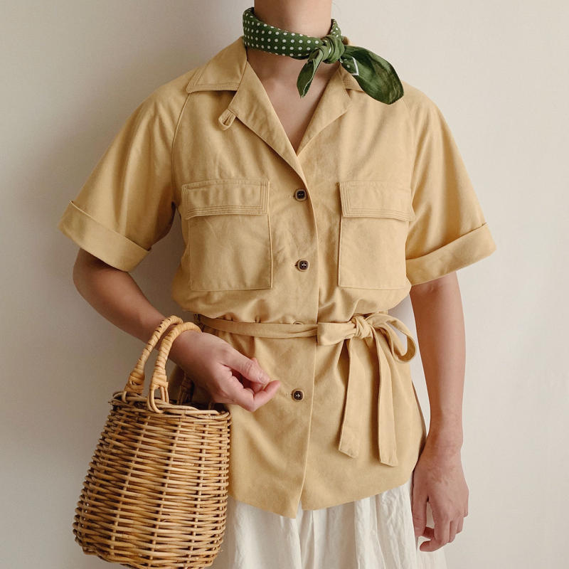 Euro Vintage Open Collar Shirt With Waist Ribbon