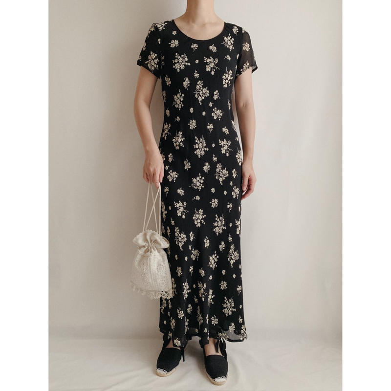 """ laura ashley "" All Over Flower Prints Sheer Long Dress"
