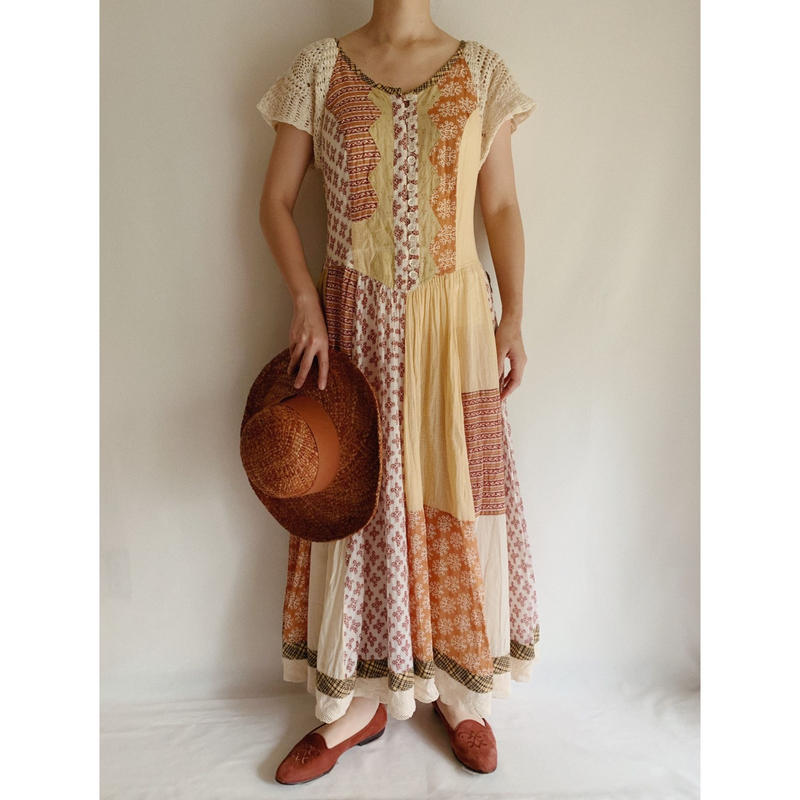 Euro Vintage Patchwork Crochet Knit Sleeve Long Dress