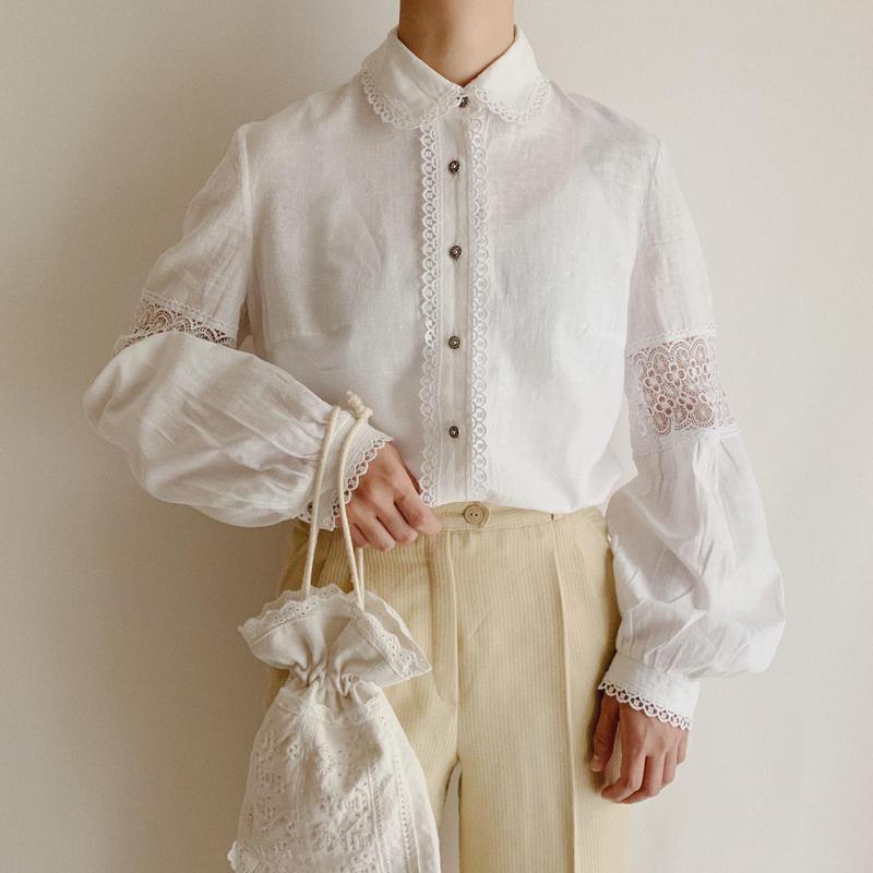 70's Euro Vintage Cotton Gauze Round Collar Volume Sleeve Blouse