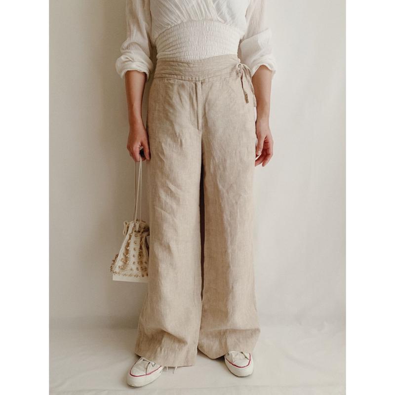 Euro Vintage Linen Wide Leg Pants