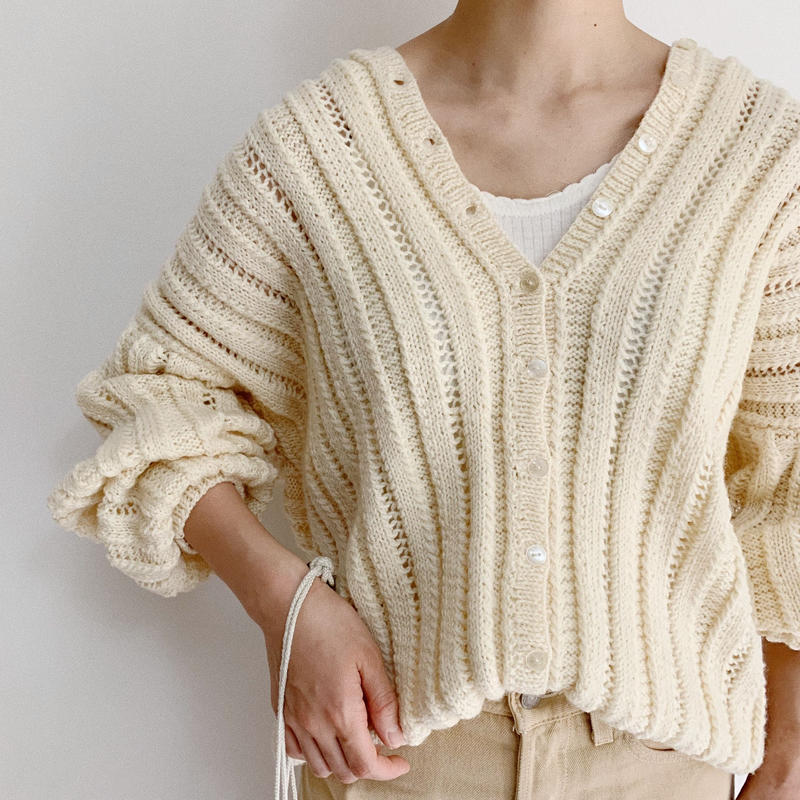 Euro Vintage Ivory Over Silhouette Knit Cardigan