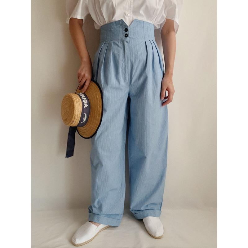 Euro  Vintage Striped Wide Leg Pants