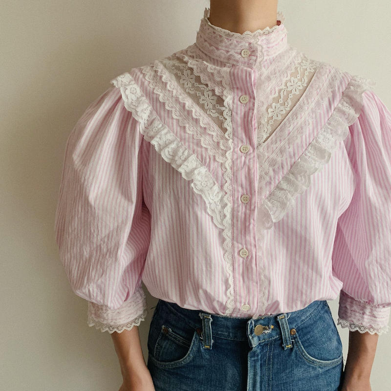 Euro Vintage Striped Stand Collar Blouse