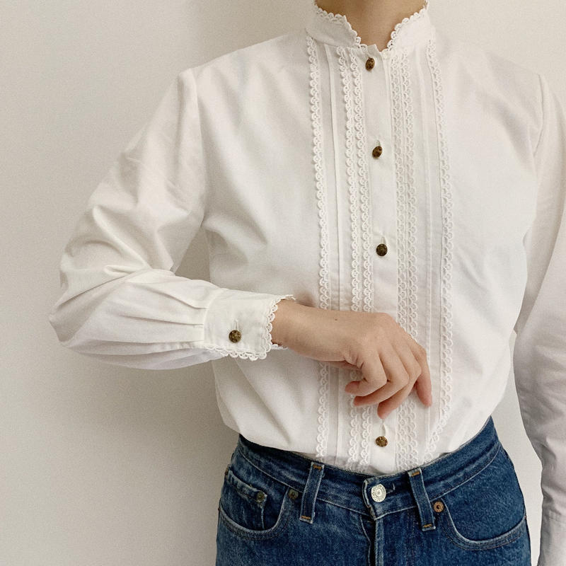 70's Euro Vintage Stand Collar Cotton Blouse