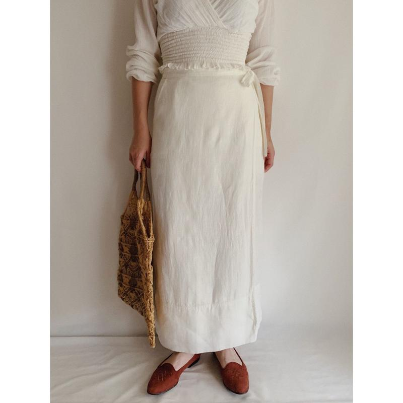 Euro  Vintage White Long Linen Wrap Skirt