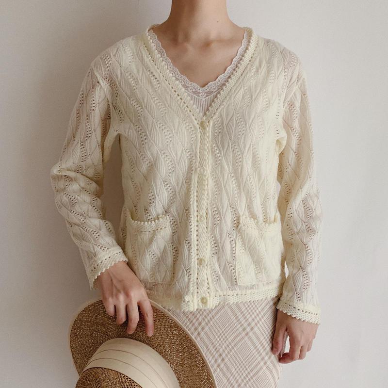 70's Ivory Spring Knit Cardigan