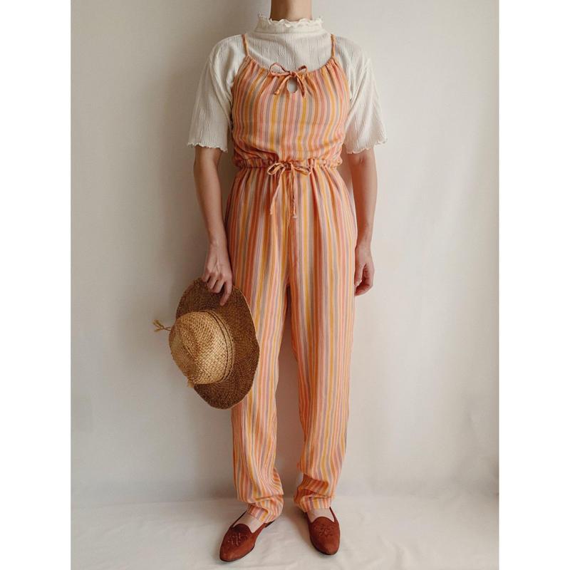 70's Euro Vintage Multi Stripe Cami Jumpsuits
