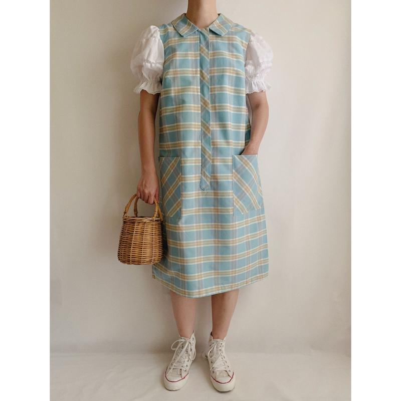 "60's USA  "" SKIMMA "" Plaid Sleeveless Dress"