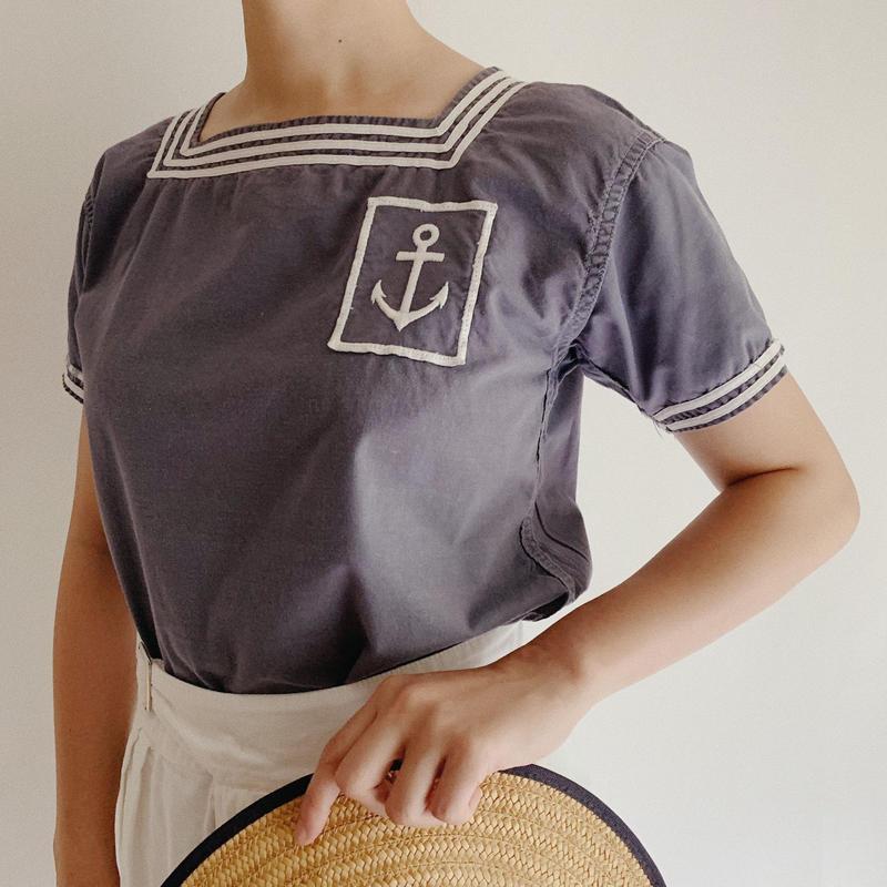 50's French Vintage Cotton Sailor Marine Shirt