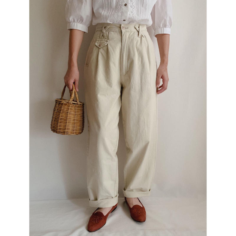 Euro Vintage Cotton Tuck Pants