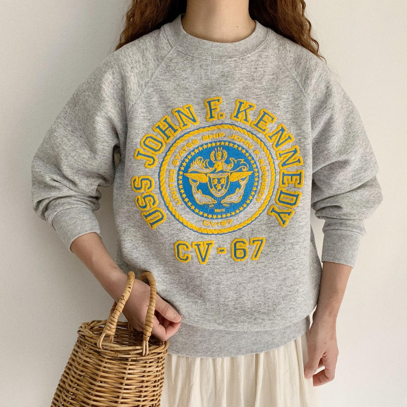 "80's USA "" U.S. Navy "" Emblem Print Sweat Shirt"